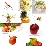 Umore luminoso del vegano del collage vegetariano organico dell'alimento Fotografia Stock