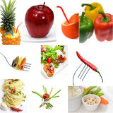 Umore luminoso del vegano del collage vegetariano organico dell'alimento Fotografia Stock Libera da Diritti