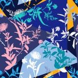 Umore moderno di estate della siluetta del collage variopinto del fiore senza cuciture illustrazione di stock