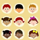Umore o emozione dei bambini, avatar Immagini Stock