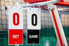 Umpire chair with scoreboard on a tennis court before the game. Royalty Free Stock Photo
