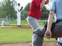 Umpire keeping count. At a boys high school baseball league game royalty free stock photography