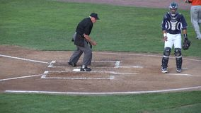 Umpire, Referee, Judge, Sports, Cleaning Home Base. Stock video of  a baseball umpire cleaning home plate stock video footage
