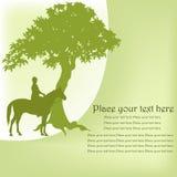 Umreiß des Reiters auf einem Pferd und einem Baum Lizenzfreies Stockbild
