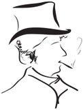 Umreiß-Portraitschattenbild des Herrn Retro- für wa stock abbildung
