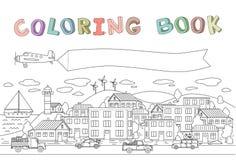 Umreißen Sie Bild der Stadt mit Häusern, Autos, Fläche und Boot Copyspace auf einer flachen Fahne Linie Vektorillustration für stock abbildung