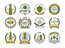 Umreißen Sie bunte Bierembleme, Symbole, Ikonen, Kneipenaufkleber, Ausweissammlung Lizenzfreies Stockbild