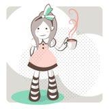 Umreißen Sie das kleine Mädchen, das einen grünen Bogen mit einer Teeschale trägt Stockbilder
