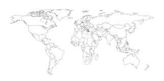 Umreißen Sie Illustration der Welt mit Landgrenzen Stockbilder