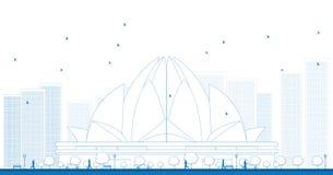 Umreißen Sie Lotus Temple, gelegen in Neu-Delhi, Indien Lizenzfreies Stockfoto
