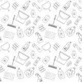 Umreißen Sie nahtlose Reinigungsprodukte und Ausrüstungshintergrundmuster Lizenzfreies Stockfoto