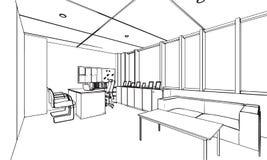 Umreißen Sie Skizzenzeichnungsperspektive eines Raumbüros Stockbild