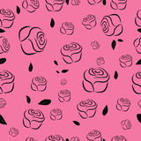 Umreißt nahtloses Muster von Rosen Lizenzfreies Stockfoto