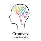 Umreißen Sie buntes Gehirn im männlichen Kopf, kreatives Konzept Stockbilder