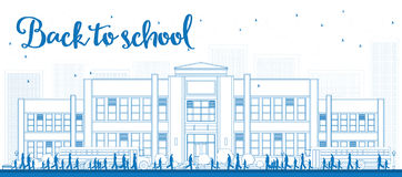 Umreißen Sie Landschaft mit Schulbus, Schulgebäude und Leuten Lizenzfreie Stockfotos