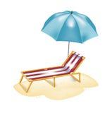 Umrella и стул для загорать Бесплатная Иллюстрация