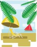 Αφηρημένο σχέδιο με τα φύλλα φοινικών, την άμμο, το umrella παραλιών και την καρέκλα και την άποψη στη θάλασσα με μια κόκκινη βάρ Στοκ Εικόνα