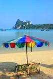 Umrella and sunchairs at Ao Loh Dalum beach on Phi Phi Don Islan Royalty Free Stock Photography