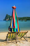 Umrella and sunchairs at Ao Loh Dalum beach on Phi Phi Don Islan Stock Photo