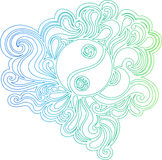 Umrissene Yin Yang vektorabbildung Lizenzfreies Stockfoto