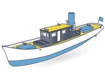 Umrissener Flussdampfer mit großem Kamin Motorboot, Seedampfer für die Fischerei lizenzfreie abbildung