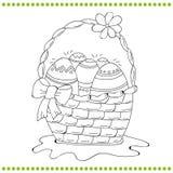 Umrissener Ostern-Korb von Eiern Stockfotografie