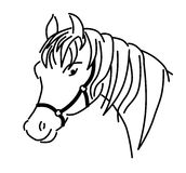 Umrissener Pferdekopf mit Geschirrvektor Stockbilder