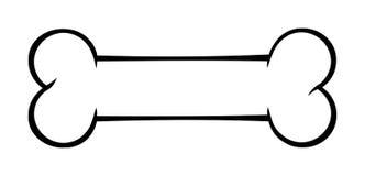 Umrissenes Hundeknochen-Karikatur-Zeichnungs-Schwarzweiss-übersichtliches Design lizenzfreie abbildung