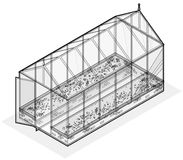 Umrissenes isometrisches Gewächshaus mit Glaswänden, Grundlagen, Gartenbett Stockfotografie