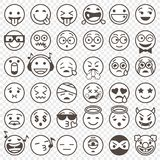 Umrissenes Schwarzweiss--Emoji stellte 2 ein Lizenzfreies Stockbild