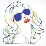 Umrissenes und farbiges Portrait der Frau Lizenzfreie Stockfotos