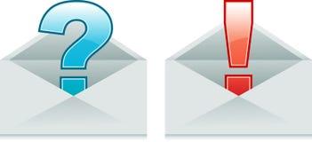 Umschläge mit Ausruf und Fragezeichen lizenzfreie abbildung