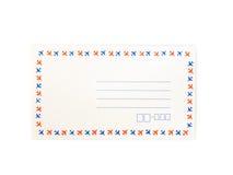 Umschlag auf weißem Hintergrund Stockfotografie