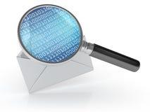 Umschlag-Buchstabe mit binär Code und Lupe stock abbildung
