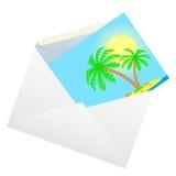 Umschlag mit einer Karte. Stockbilder