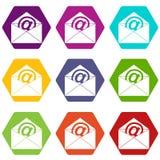 Umschlag mit gesetztem hexahedron Farbe der E-Mail-Zeichenikone vektor abbildung