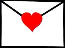 Umschlag mit Herzen Lizenzfreies Stockbild