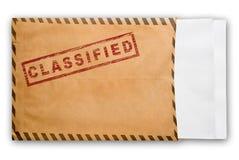 Umschlag mit streng geheim Stempel und unbelegten Papieren. Stockfoto