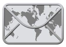 Umschlag mit Weltkarte Lizenzfreie Stockfotos