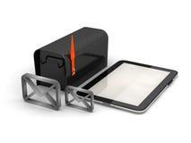 Umschlag-, Tablet-Computer- und Stahlbriefkasten Stockfoto