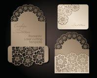 Umschlag und Einladung Intage für Laser-Ausschnitt Openwork Abdeckung und Kartenentwurf für die Heirat, Valentinstag, romantisch stock abbildung