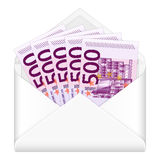 Umschlag und fünfhundert Eurobanknoten Stockbilder