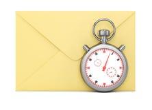 Umschlag und Stoppuhr stock abbildung