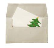Umschlag und Weihnachtskarte Stockfotografie