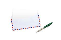 Umschlag, Zeichen und Feder Stockbild