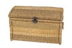 Umsponnener Kasten für Gegenstände und Produkte auf einem weißen Hintergrund Lizenzfreies Stockbild