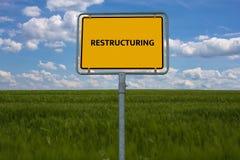 UMSTRUKTURIERUNG - Bild mit den Wörtern verbunden mit der Thema ZAHLUNGSUNFÄHIGKEIT, Wort, Bild, Illustration Lizenzfreie Stockfotos