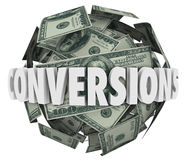 Umwandlungs-Wort-Geld-Ball-großes Verkaufs-Gewinn-Einkommen Stockbilder