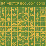 Umwelt, Ökologieikonensatz Umweltrisiken, Ökosystem Lizenzfreie Stockbilder