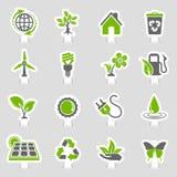 Umwelt-Ikonen-Aufkleber-Satz lizenzfreie abbildung